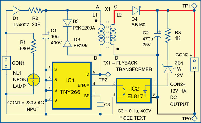 12V, 1A SMPS Circuit Diagram | Electronic Circuits Diagram