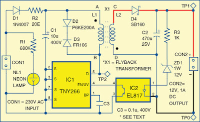 12V, 1A SMPS Circuit Diagram