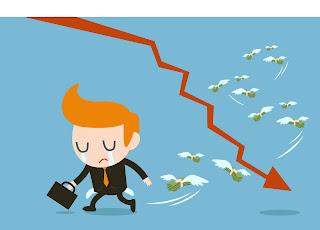 A cartoon salesman cries as money flies away