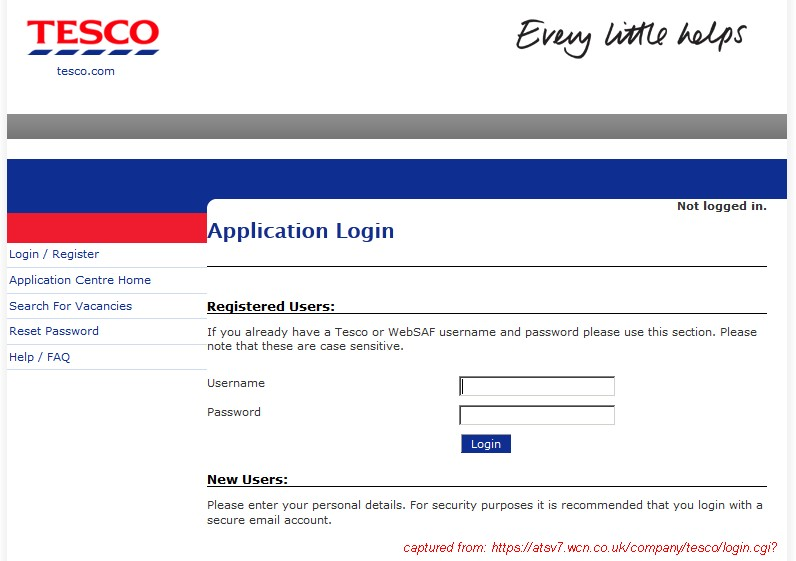 Career Application Form Tesco Application Form online
