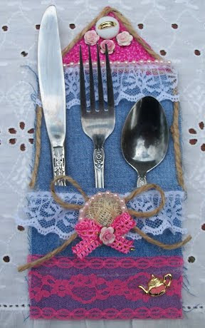 Shabby Chic silverware pocket