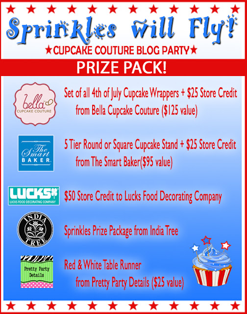cupcake couture blog party sprinkles will fly 4th Of July giveaway