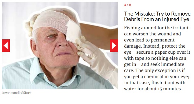 First aid for injured eye Debris removal