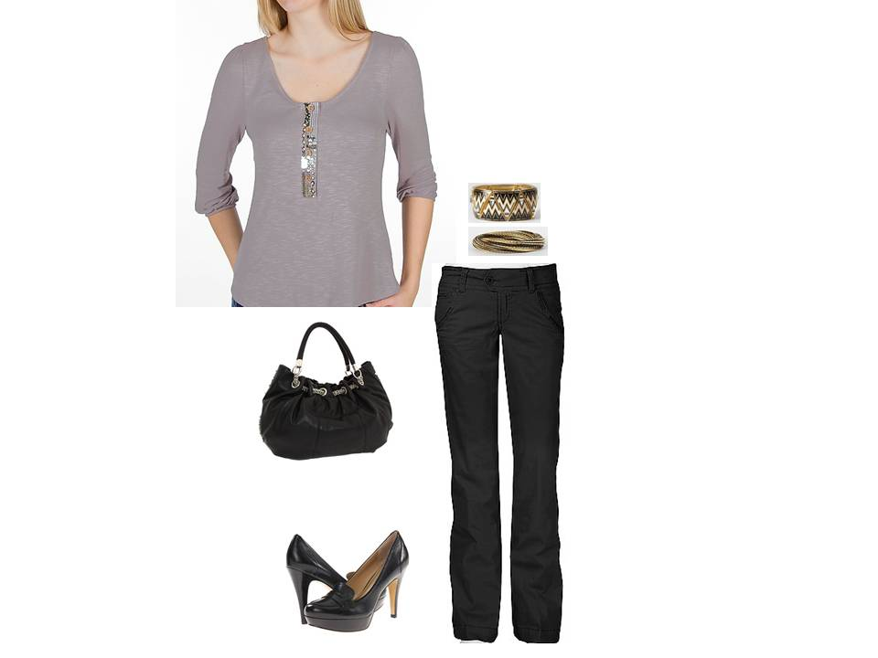 Gold Blouse Outfit 73