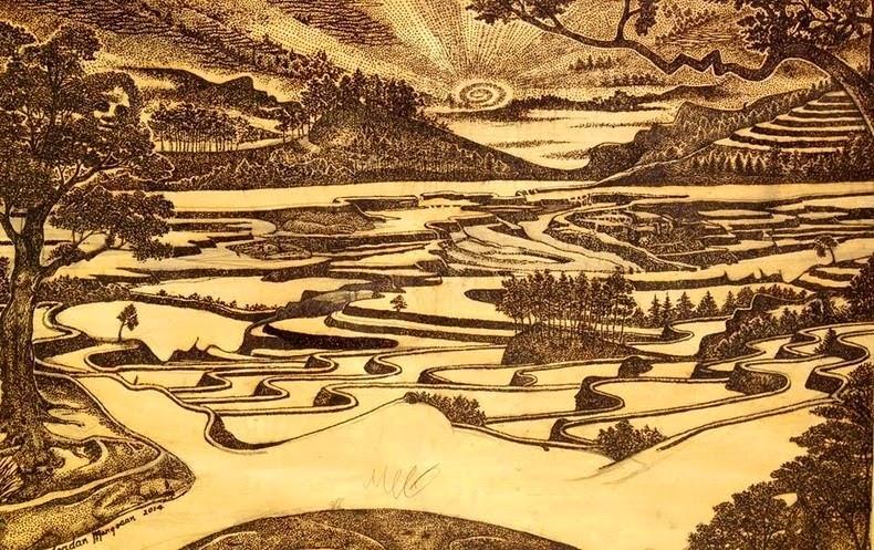 gambar lukisan dengan kaca pembesar karya Jordan Mang Osan