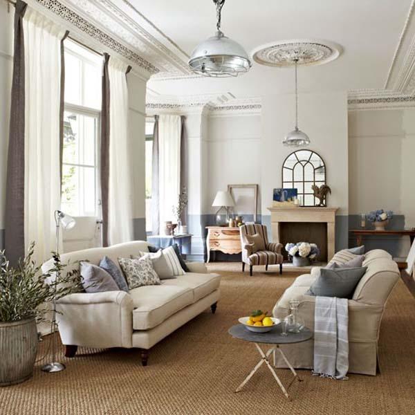 salón en grises y blanco-cálido- casa de campo