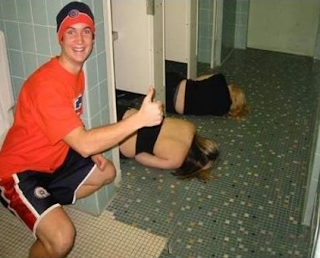 funny picture: drunk girls in toilet