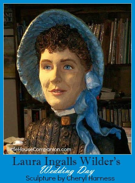 Sculpture of Laura Ingalls Wilder on her wedding day.