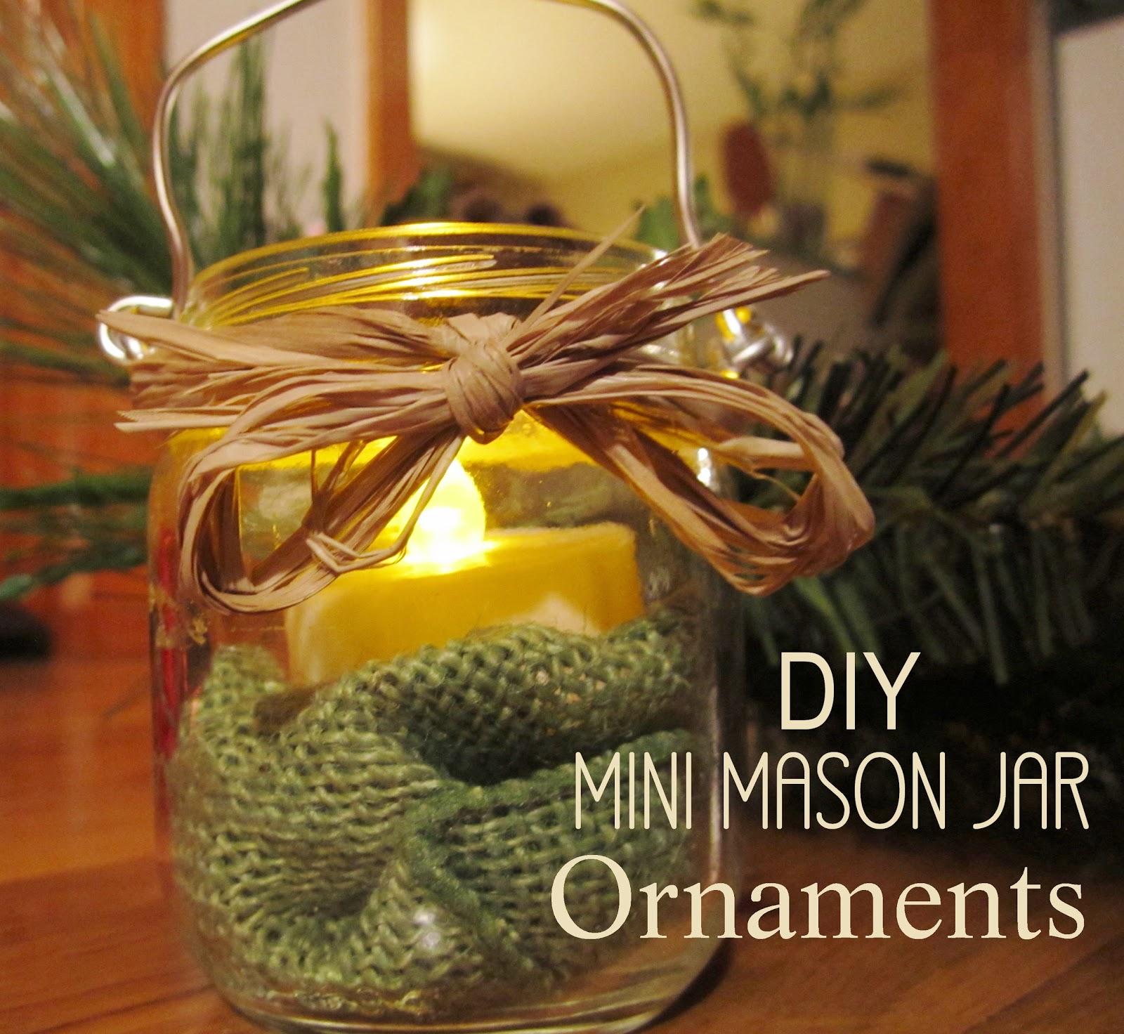 Mason jar ornaments - Diy Mini Mason Jar Ornaments