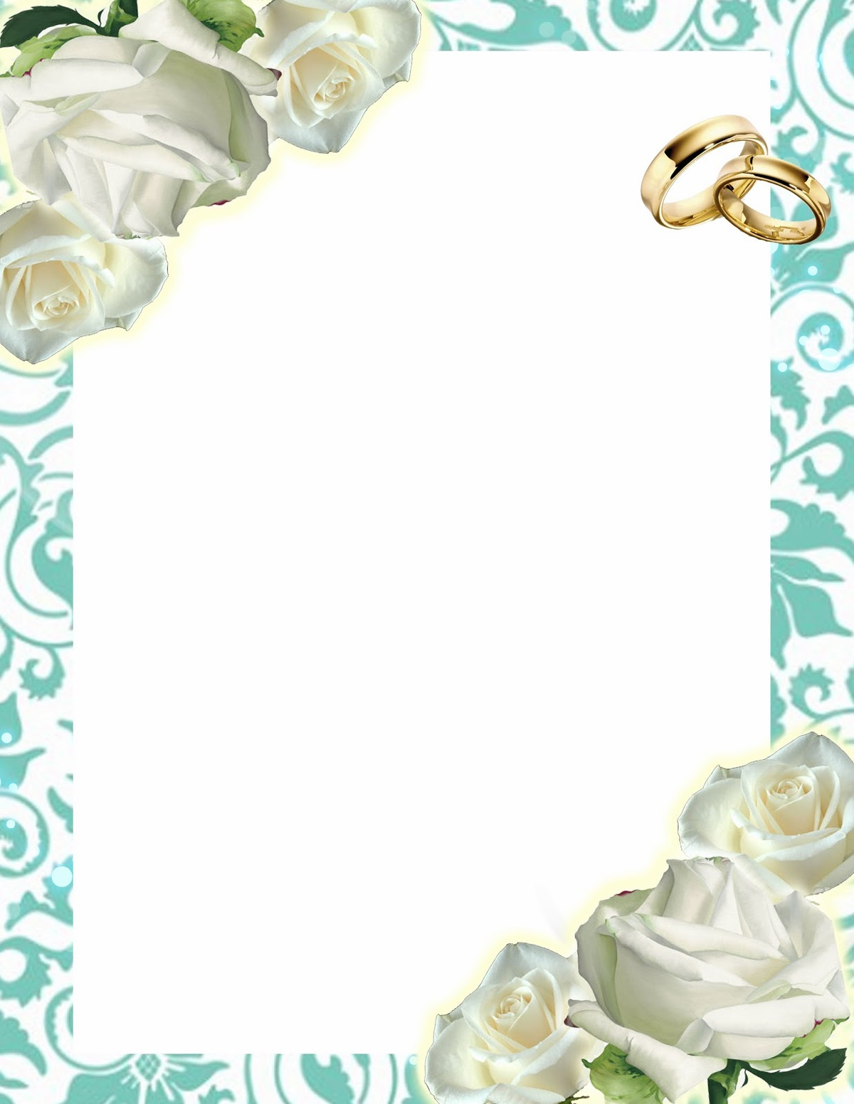 Template Free: Turquoise Invitation for Weddings with Roses and Rings