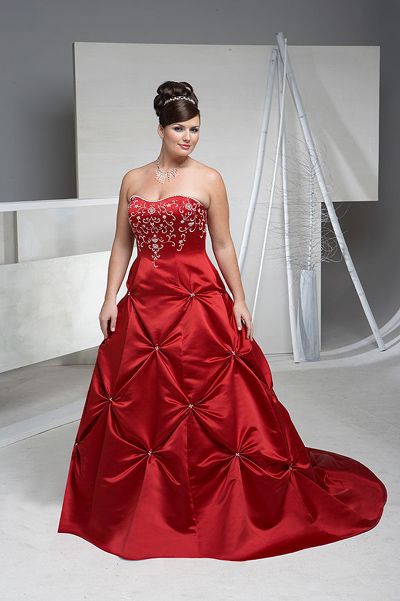 Elegant Bridal Style Plus Size Red And White Wedding Dresses