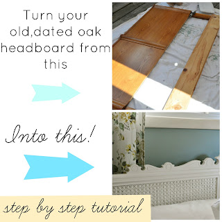 Update your old oak headboard with caning and paint