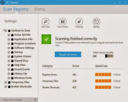 برنامج مجاني لتنظيف وتسريع وتحسين وظائف جهازك IQmango PC Cleaner 1.0.6