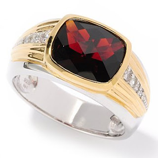 White Sapphire Checkerboard Cut Garnet Men's Ring