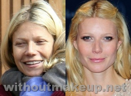 Gwyneth Paltrow with and without makeup
