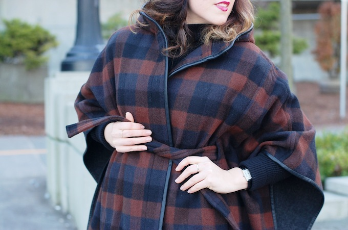 Coach plaid cape coat