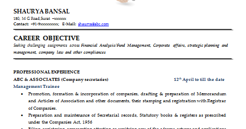 Over 10000 CV And Resume Samples With Free Download: Best Resume Format For Company  Secretary