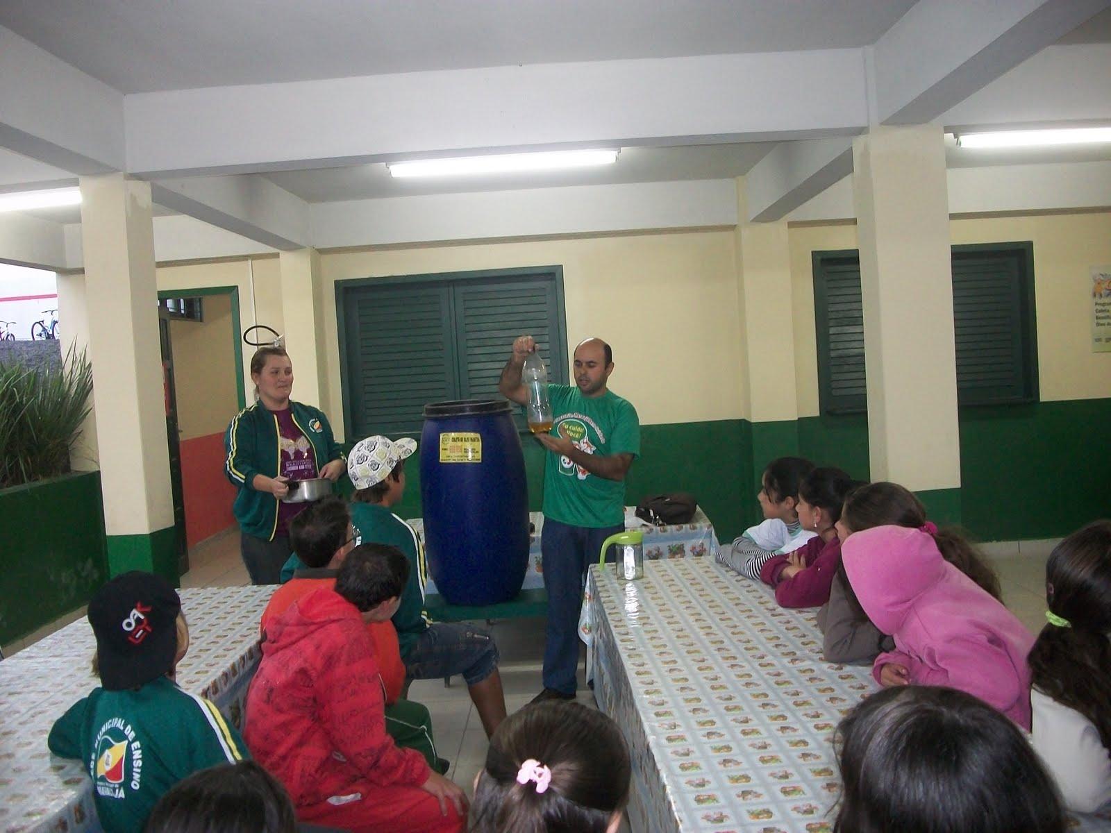 Maracajá SC: Reciclagem do óleo de cozinha é tema do projeto de  #782B34 1600 1200