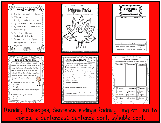 Sarah's First Grade Snippets: Thanksgiving worksheets and centers