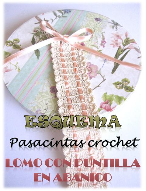 Esquema descargable gratis de pasacintas de crochet con puntilla en abanico