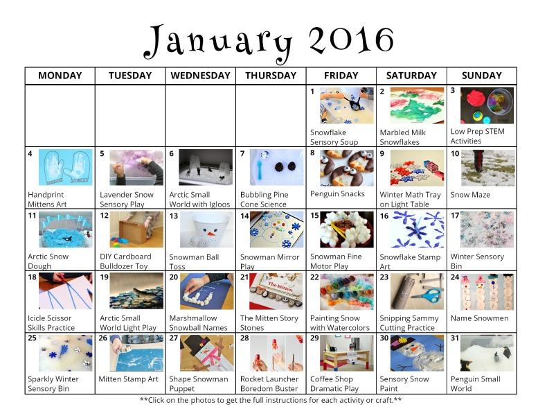Calendar For Kids Activities : January activities for kids free activity calendar
