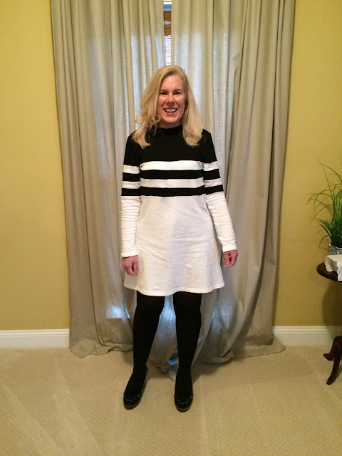 long sleeve color block dress preppy fashion over 40 blogger shein