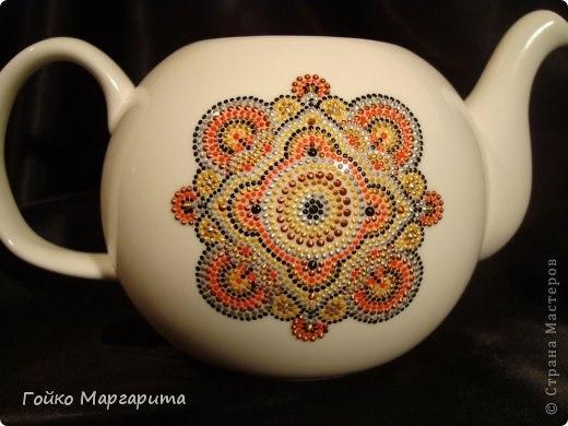 Handmadera oriental teapot diy dot painting for Creative pottery painting ideas