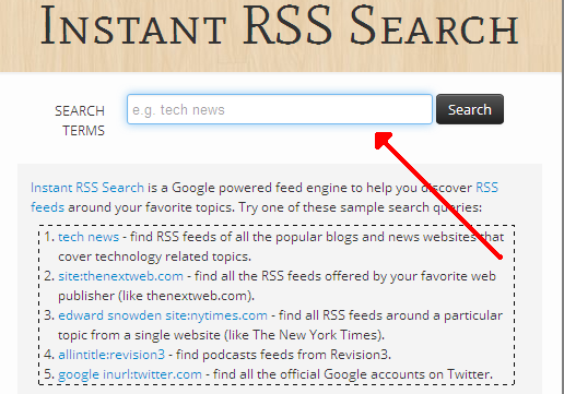 Instant RSS Search Engine