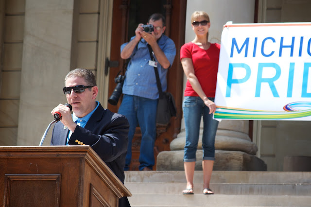 Mayor Virg Bernero. Michigan Pride Rally at the Capitol 2013, Lansing. by Tammy Sue Allen.
