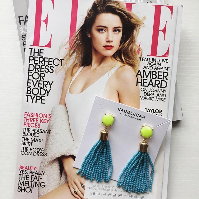baublebar blue and green tassel earrings in neon