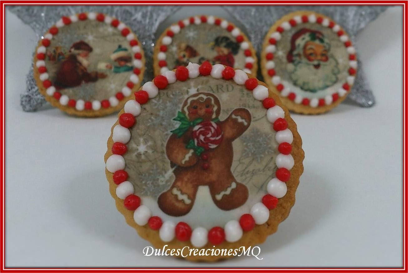 Galletas Cookies Mantequilla Navidad Glasa Decoración Fiestas Navideñas Papá Noel Regalo Detalle Dulce Papel Fondant Tinta Comestible Hojas Azúcar Dulces Creaciones MQ Mariela Quiroga
