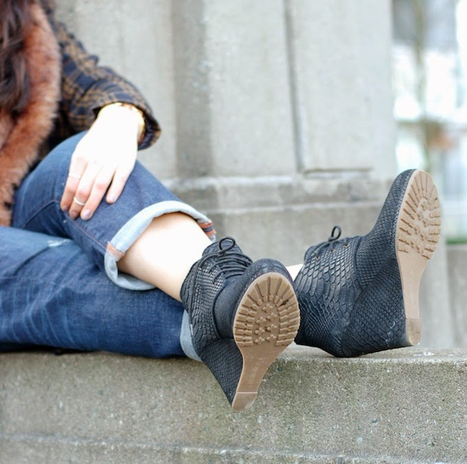 Rosegold snakeskin booties