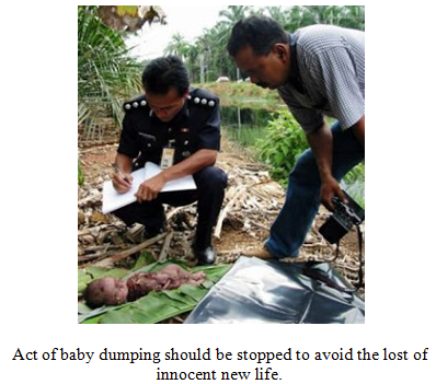 prevention of baby dumping Alor star: police have detained a student in connection with the discovery of the body of a newborn baby at an institution of higher learning in northern kedah on thursday.