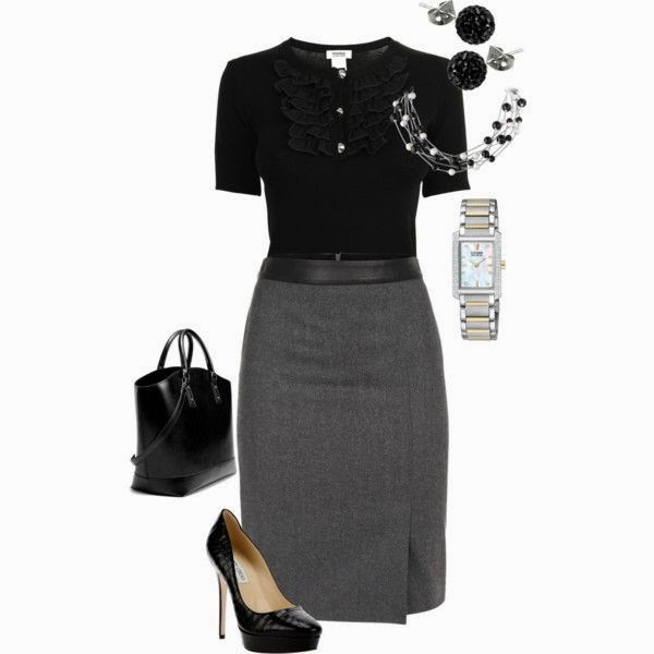 Black blouse, grey skirt, handbag and high heels style for fall