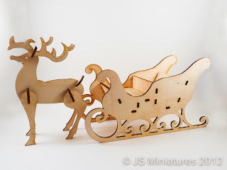 1/12th Rudolph & Sleigh laser cut kit