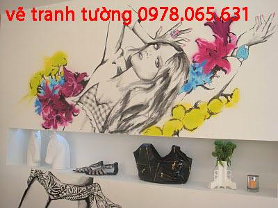 vẽ tranh tường shop thời trang đẹp
