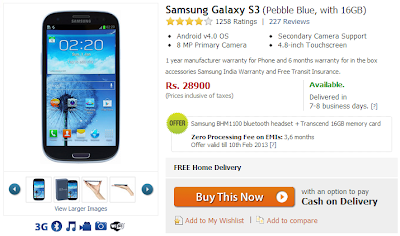 Samsung Galaxy SIII Price Drops at Flipkart