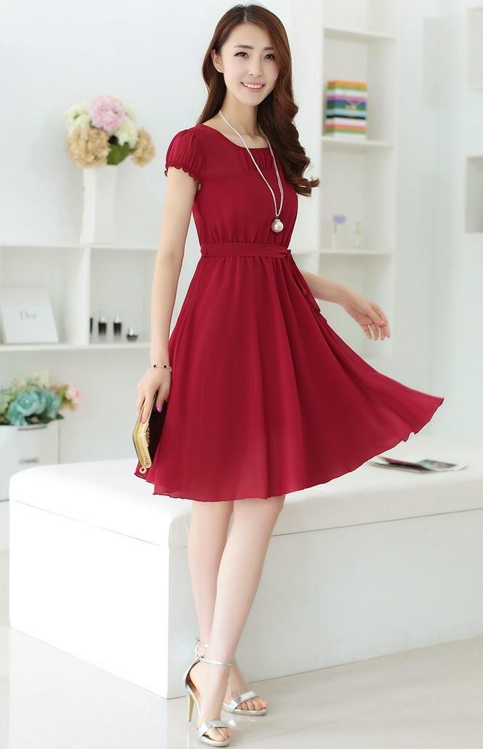 New 2015 Spring Summer 5-colors Short Sleeve Round Neck Elastic Waist Chiffon Dress