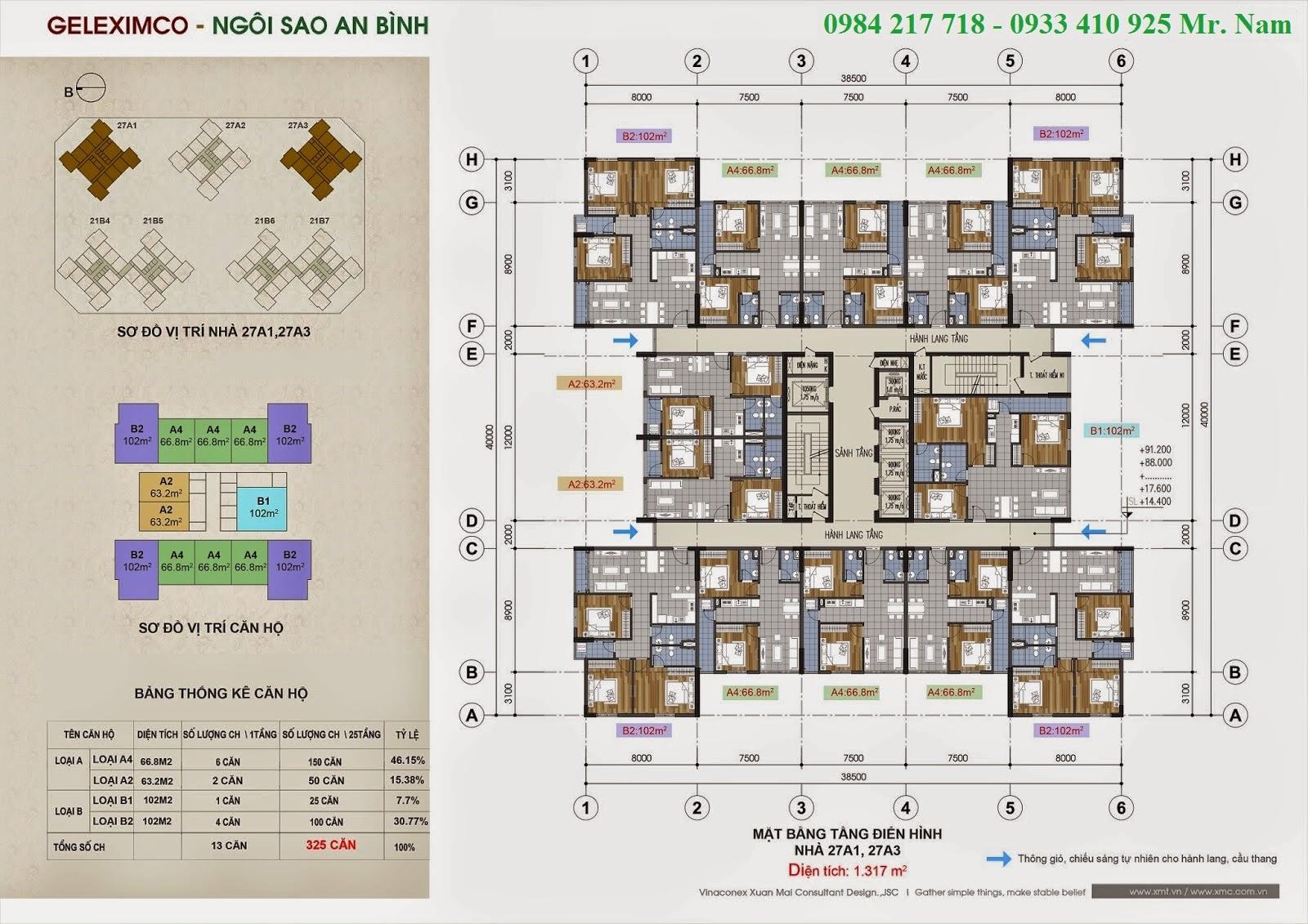 Mặt bằng sàn điển hình tầng 3 đến tầng 27 toà 27A1 và 27A3