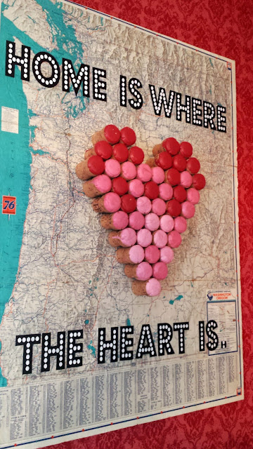 home, heart, ombre, vintage,map, vintage map, anthropologie, wine corks, paint, red, pink, white, turquoise, antique, DIY, craft, project