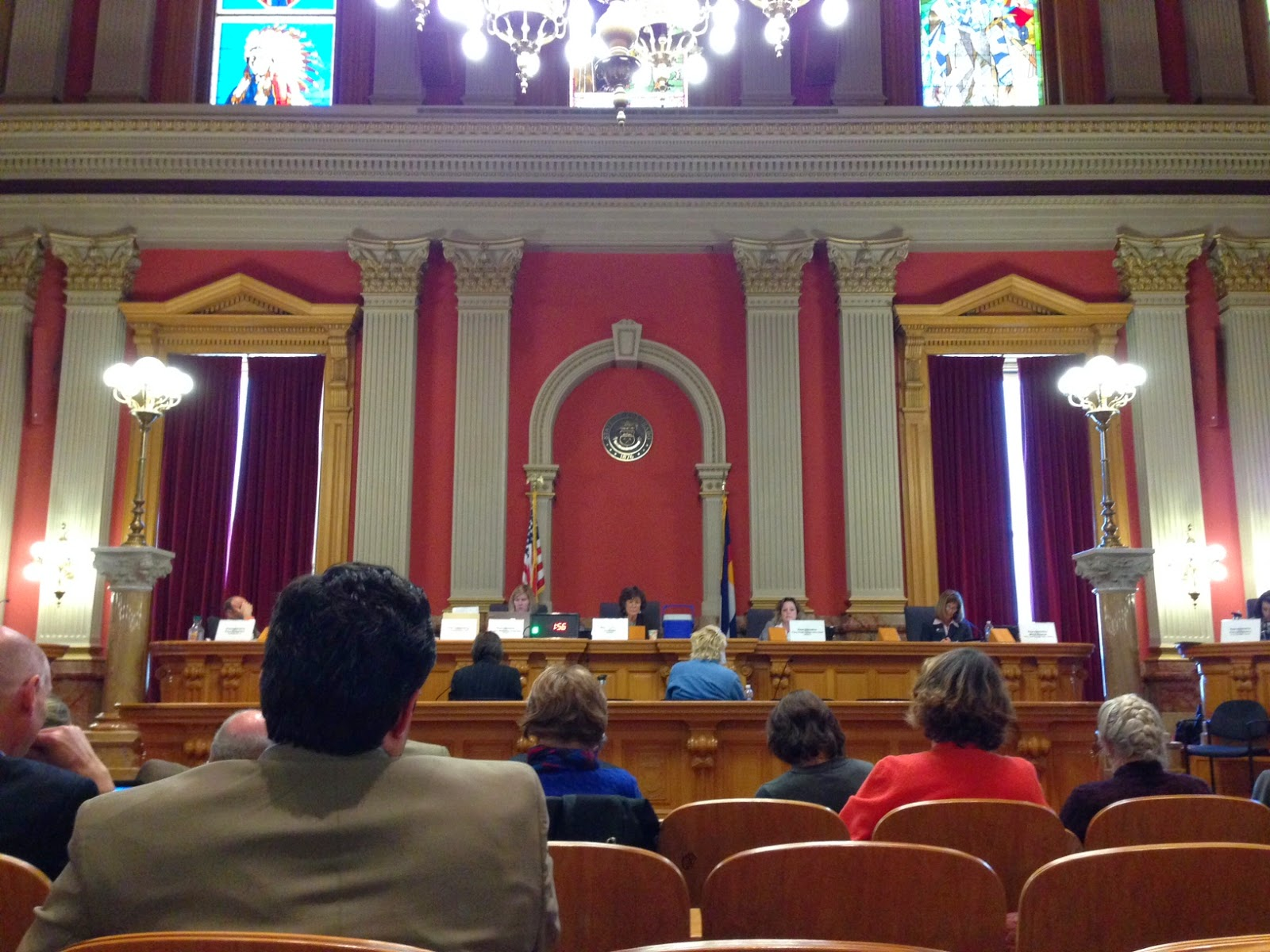 The old Supreme Court room, which is where the committee hearing on the telecommunication bills was held.