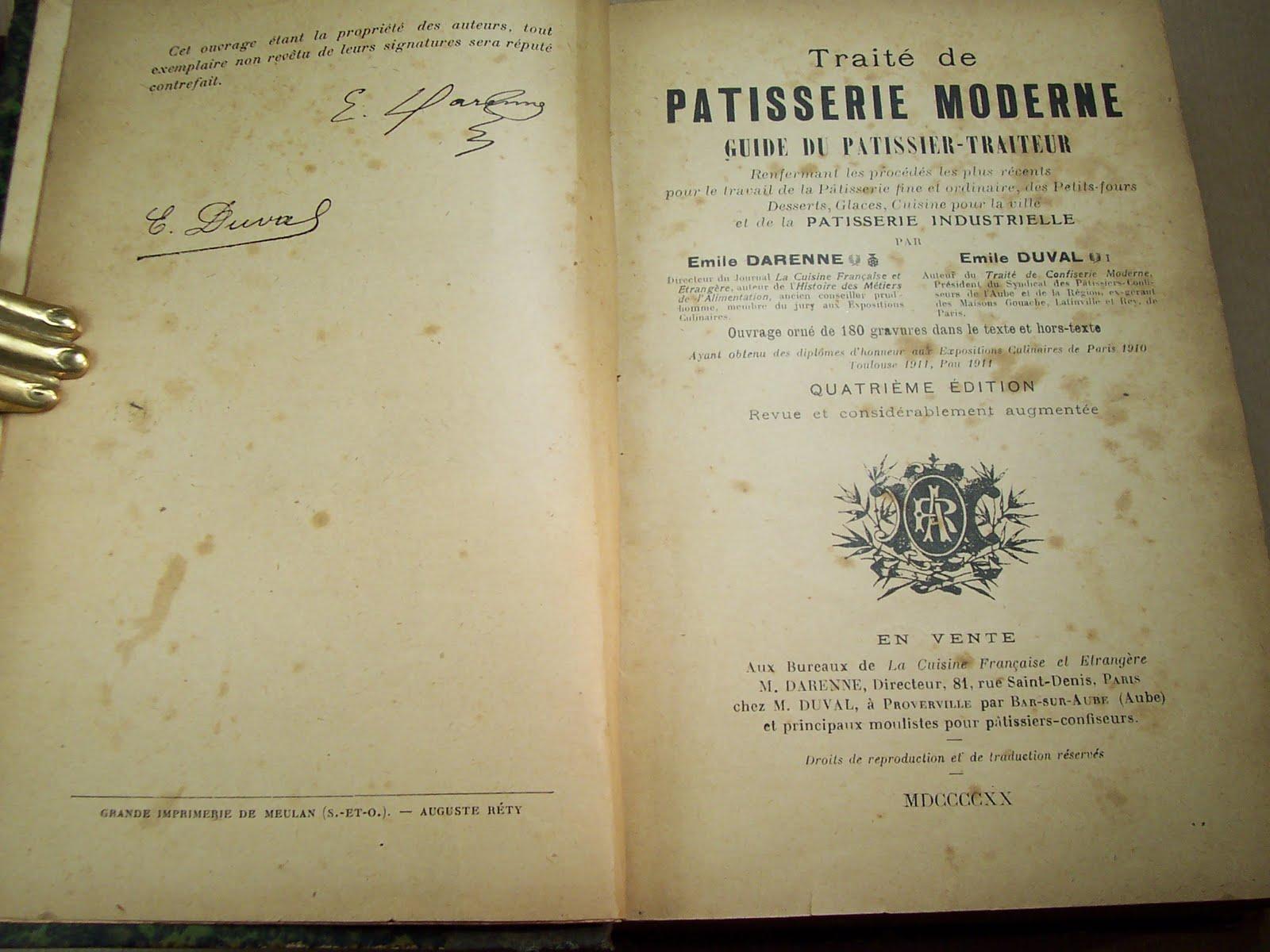 librairie ancienne et autres trésors: traité de pâtisserie