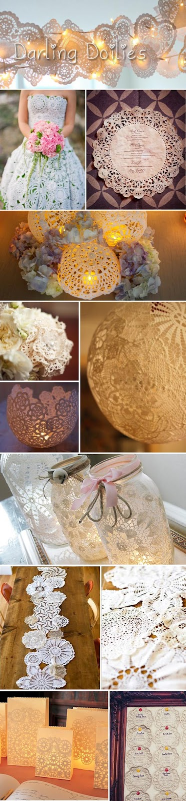 Darling doily wedding decor