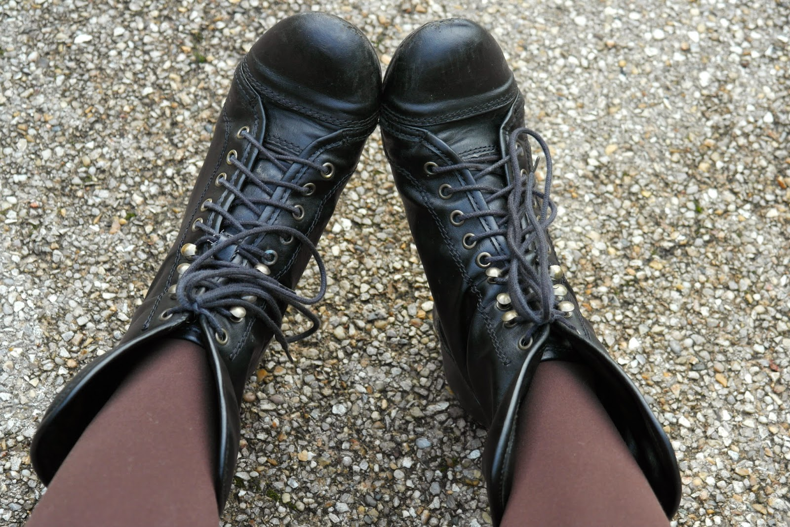 black autumn lace up boots