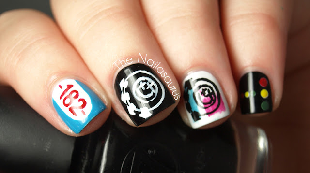 Blink 182 Freehand Nail Art