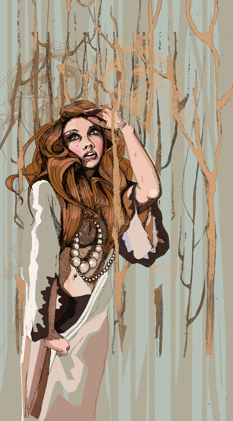 ilustracja Urbaniak  lost girl in forest illustration mixed techniques