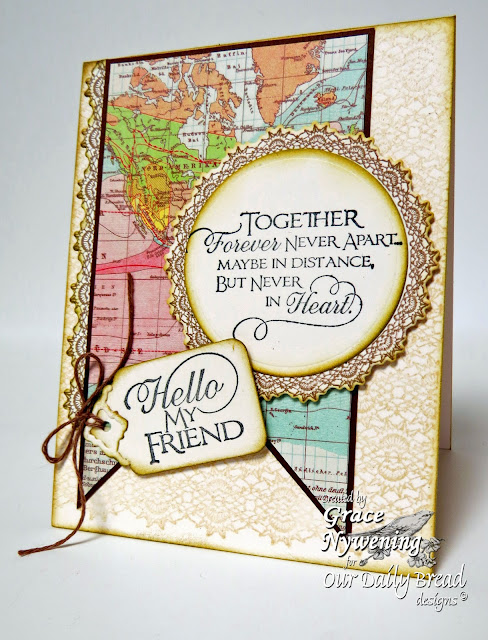ODBD Stamps, Sentiments Collection 2, Crocheted Background, Serve the Lord, designed by Grace Nywening