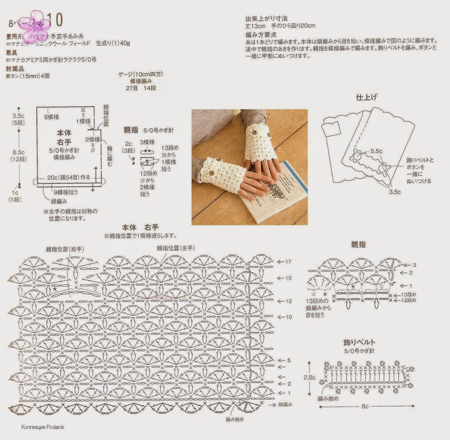 Митенки кружевные крючком схемы и описание
