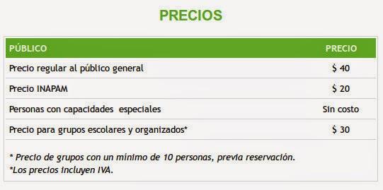 Lista de precios para entrar al mariposario de Xochitla