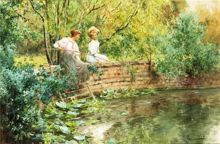 A-Reverie-by-the-River-Alfred-Glendening-oil-on-canvas-120cm-x-240cm